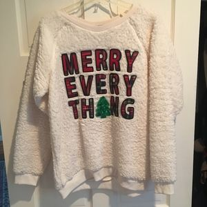 Sweaters - White Christmas Fuzzy Sweater